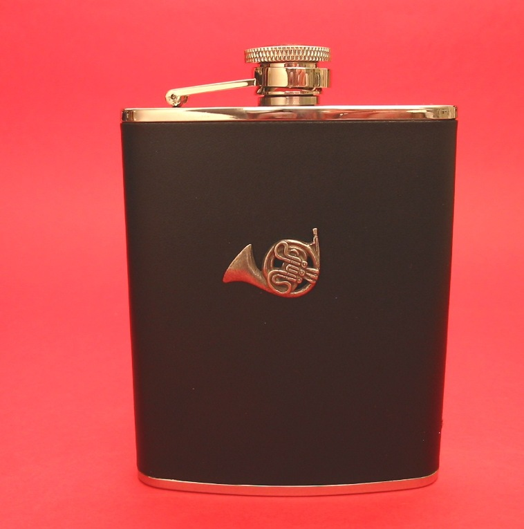 French Horn Design 6oz Black Leather Hip Flask Music Gift