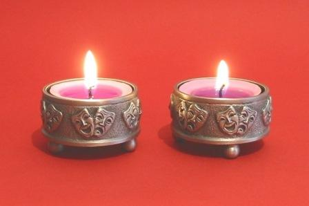 Two Comedy Tragedy Masks Pewter Tealight Candle Holders