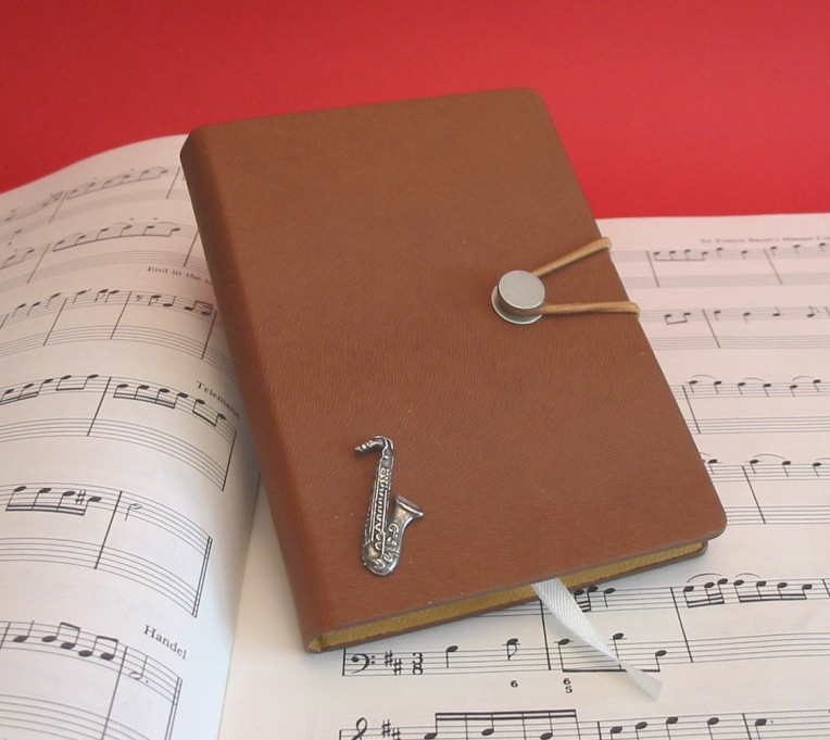 Saxophone A6 Tan Journal Notebook Music Stationery Gift