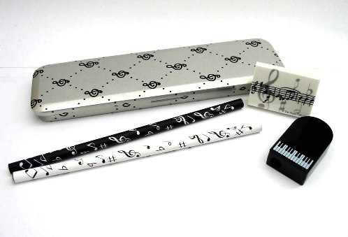 Music Gifts Silver Pencil Tin Musical Stationery School Set