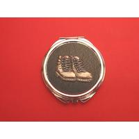 Walking Boots Black Round Compact Mirror Ramblers Gift