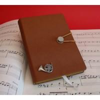 French Horn A6 Tan Journal Notebook Music Gift