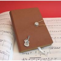 Guitar and Cowboy Hat A6 Tan Journal Notebook Music Gift