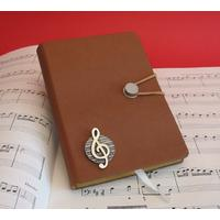 Treble Clef A6 Tan Journal Notebook Music Gift