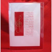 Music Gift Hand-made Happy Birthday Greetings Card (Red)