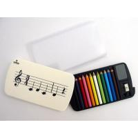 12 Miniature Colour Pencils and Case Music Gift Set School Home