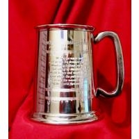 Music Gift Pewter Tankard with Poetry and Manuscript Design