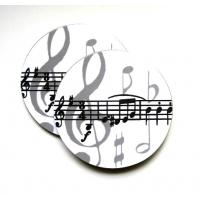 2 Music Notes White Cup Mug Coasters Kitchenware Music Gift