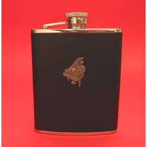 Piano Design 6oz Black Leather Hip Flask Music Gift