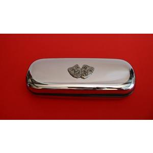 Comedy Tragedy Masks Pewter Motif on Chrome Glasses Case