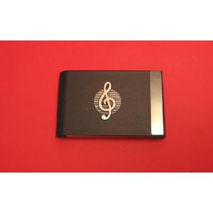 Treble Clef Pewter Motif on Black Card Holder Musician Gift