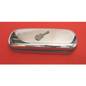 Acoustic Guitar Pewter Motif on Chrome Glasses Case Music Gift