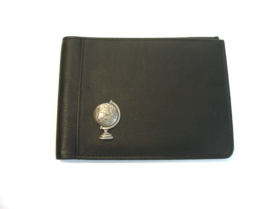 Desk Globe Design Real Leather Black Passport Holder Gift