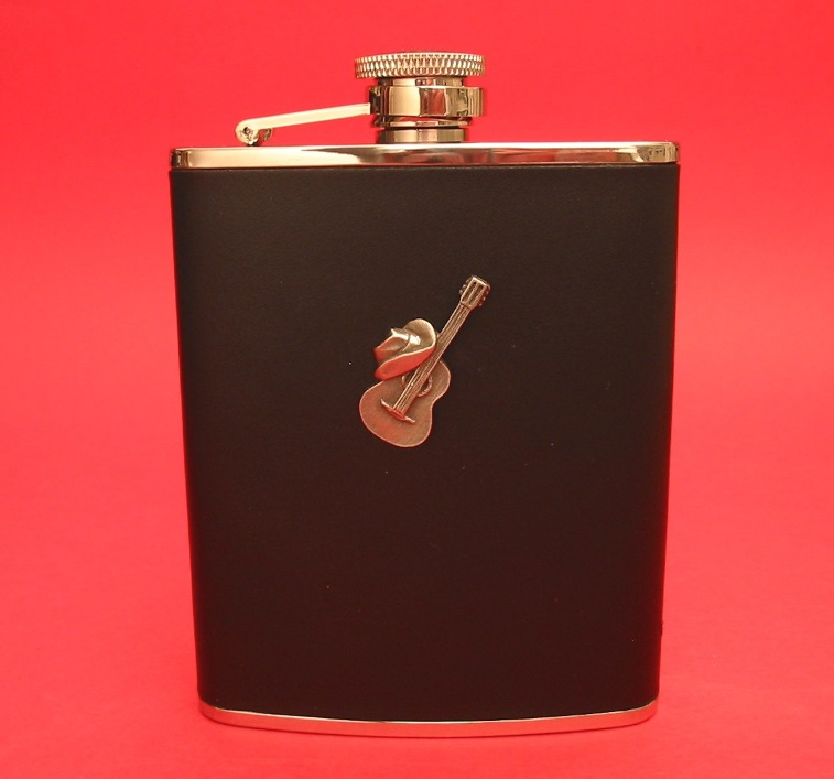 Guitar and Cowboy Hat Design 6oz Black Leather Hip Flask Country