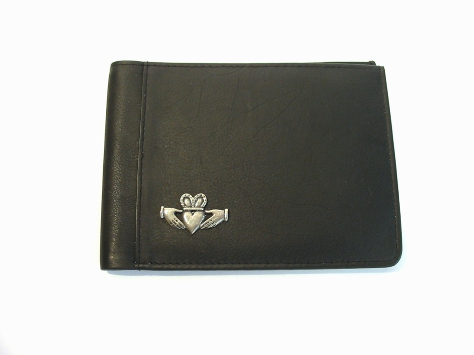 Claddagh Design Real Leather Black Passport Holder Gift