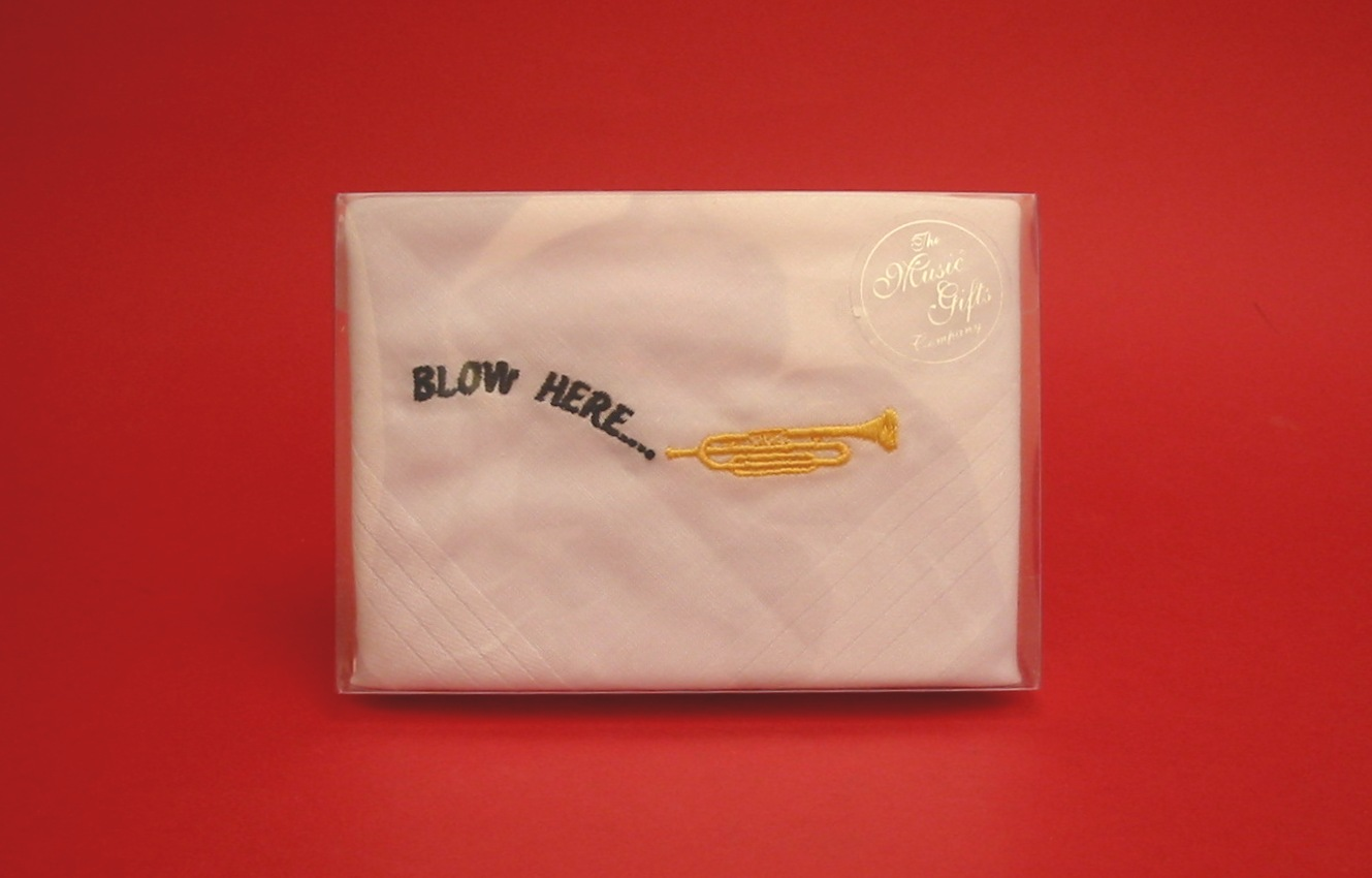 Trumpet design 'Blow Here' Cotton Handkerchief Gents Music Gift