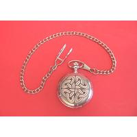 Celtic Knot Pewter Pocket Watch with Albert Chain Gents Gift