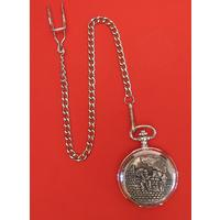 Chimney Sweep Pewter Pocket Watch with Albert Chain Wedding Gift