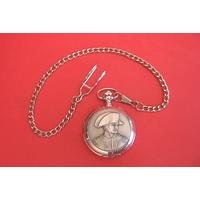 Napoleon Pewter Pocket Watch with Albert Chain Gents Gift