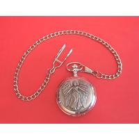 Guardian Angel Pewter Pocket Watch with Albert Chain Gents Gift