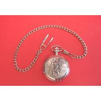 St Christopher Pewter Pocket Watch with Albert Chain Gents Gift