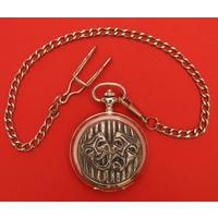 Comedy Tragedy Masks Pewter Pocket Watch with Albert Chain Drama