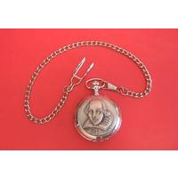 Shakespeare Head Pewter Pocket Watch with Albert Chain Gift