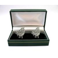 Classical Grand Piano Pewter Cufflinks Boxed Mens Music Gift