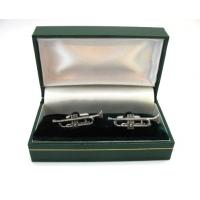 Trumpet Pewter Cufflinks Mens Musician Music Gift Boxed