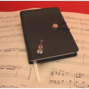 Violin Black A6 Journal Notebook Music Teacher Gift