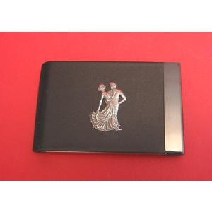 Ballroom Dancers Pewter Motif on Black Card Holder Dance Gift