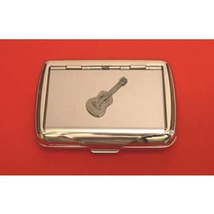 Acoustic Guitar Chrome Tobacco Tin Music Gift